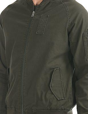 Aeropostale Cotton Solid Bomber Jacket
