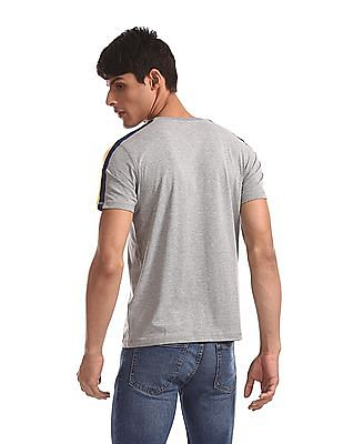 Aeropostale Grey Contrast Taping Heathered T-Shirt