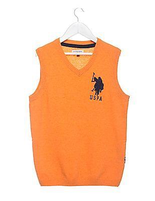 U.S. Polo Assn. Kids Boys V-Neck Lambswool Sweater Vest