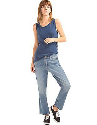 GAP Women Blue Authentic 1969 Crop Kick Jeans