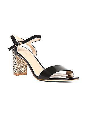 Black Textured Block Heel Sandals