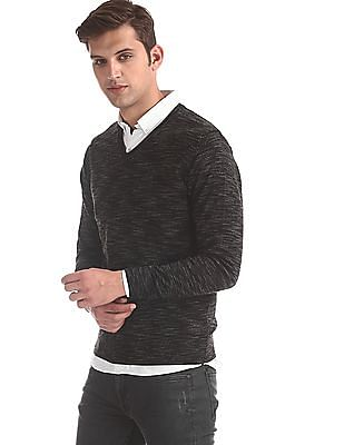 Flying Machine Black V-Neck Heathered Sweater