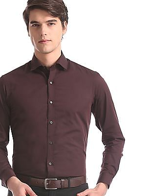 Arrow Newyork Brown Snug Skinny Fit Cotton Shirt