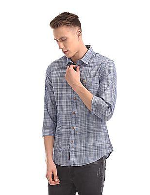 U.S. Polo Assn. Denim Co. Blue Slim Fit Patterned Shirt