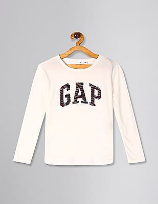 GAP Girls White Flippy Sequin Logo T-Shirt