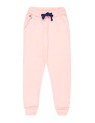 U.S. Polo Assn. Kids Girls Drawstring Waist Knit Joggers