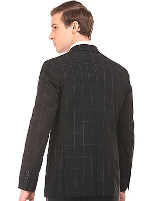 Arvind Slim Fit Windowpane Check Blazer