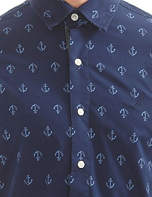 Nautica Short Sleeve Twotone Anchor Shirt