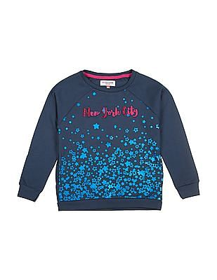 U.S. Polo Assn. Kids Girls Star Print Raglan Sleeve Sweatshirt