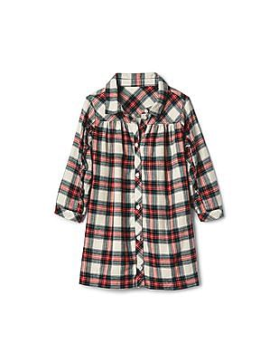 GAP Toddler Girl Red Plaid Flannel Ruffle Shirtdress