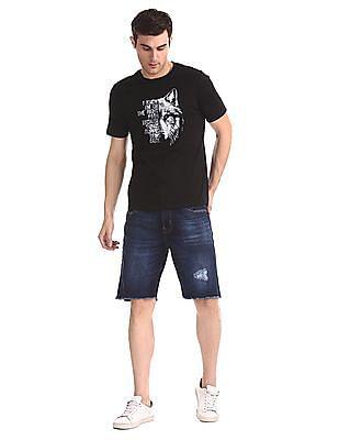 Aeropostale Blue Regular Fit Distressed Denim Shorts