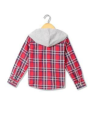 Cherokee Boys Hooded Check Shirt