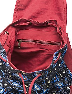 Bronz Paisley Print Canvas Backpack