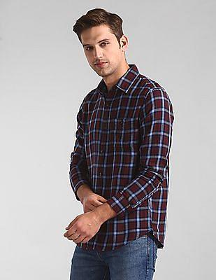 GAP Red Long Sleeve Slub Twill Shirt