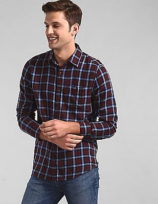 GAP Red Long Sleeve Slub Twill Shirt