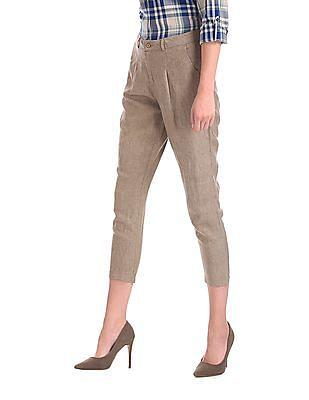 U.S. Polo Assn. Women Pleated Front Linen Trousers