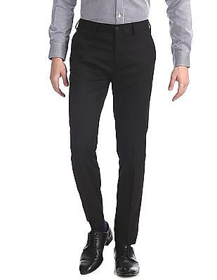 Excalibur Black Solid Super Slim Fit Trousers