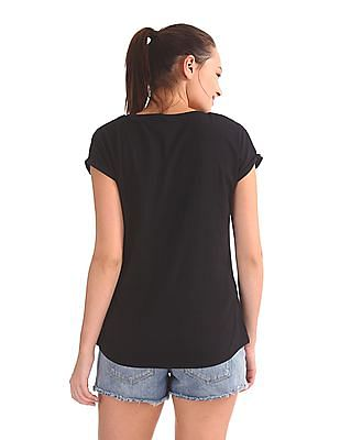 EdHardy Women Printed Stud Embellished T-Shirt