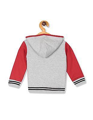 Donuts Grey Boys Colour Block Hooded Sweatshirt