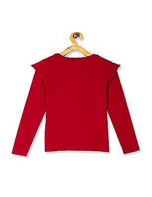 U.S. Polo Assn. Kids Red Girls Ruffle Sleeve Printed Top
