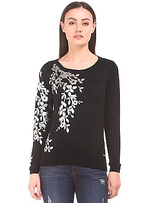 Elle Floral Foil Print Sweater