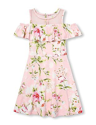 4dfacf8a86f8 The Children's Place Girls Short Sleeve Floral Print Cold-Shoulder Knit  Dress
