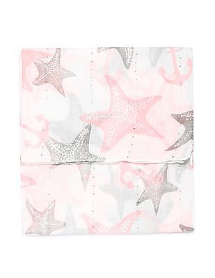SUGR Starfish Print Sequin Embellished Stole