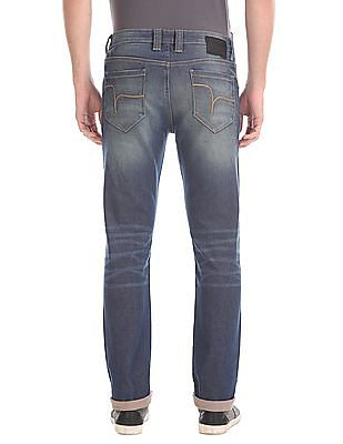 Flying Machine Slim Tapered Distressed Jeans