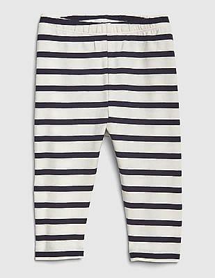 GAP White Girls Striped Cotton Stretch Leggings