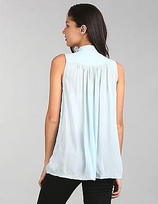 GAP Women Blue Sleeveless Shirred Shirt