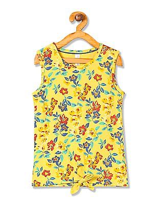 U.S. Polo Assn. Kids Girls Tie-Up Waist Printed Top