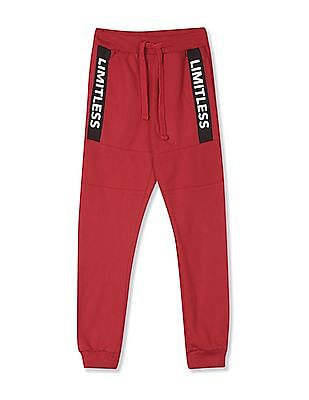 FM Boys Red Boys Mid Rise Panelled Joggers