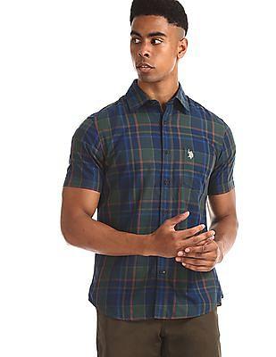 U.S. Polo Assn. Green Spread Collar Check Shirt