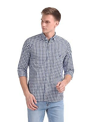 Nautica Long Sleeve Yarn Dyed Small Plaid Poplin Shirt