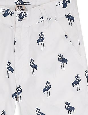 FM Boys Boys Flamingo Print Regular Fit Shorts