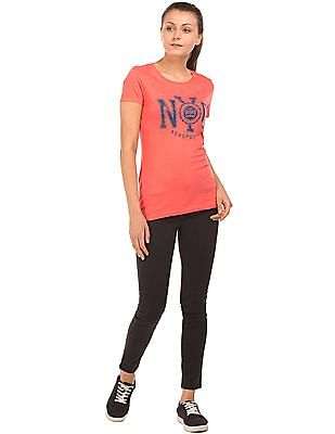 Aeropostale Distressed Print Cotton T-Shirt