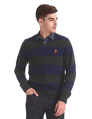U.S. Polo Assn. Striped Lambswool Sweater