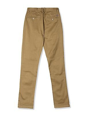 U.S. Polo Assn. Brown Slim Fit Chevron Pattern Trousers