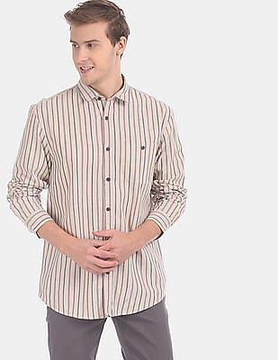 Cherokee Men Beige Vertical Stripe Cutaway Collar Casual Shirt