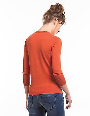 Nautica Round Neck Zip Up Sweater
