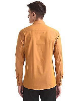 Excalibur Orange Super Slim Fit Cotton Shirt