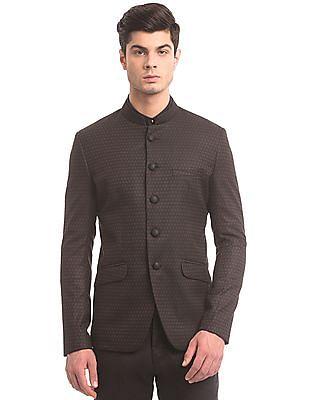 True Blue Slim Fit Patterned Weave Bandhgala