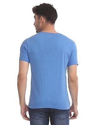 Flying Machine Blue Chest Print Crew Neck T-Shirt