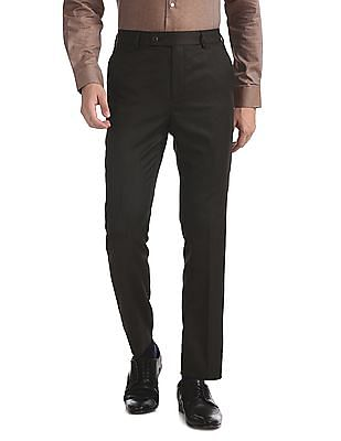 Arrow Brown Tapered Fit Flat Front Trousers