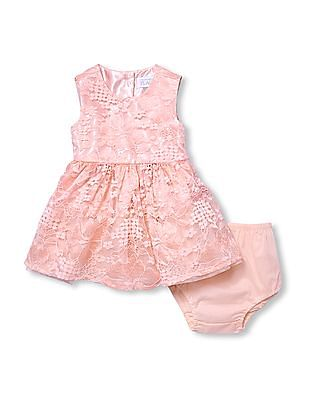 The Children's Place Baby Girl Pink  Sleeveless Floral Lace Woven Dress And Bloomers Set