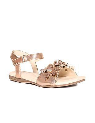 SUGR Gold Girls Flower Accent Metallic Sandals