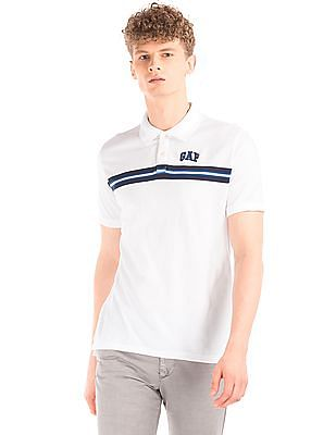 GAP Striped Chest Cotton Polo Shirt