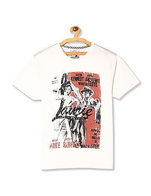 Flying Machine White Regular Fit Distressed Print T-Shirt