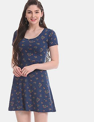 Aeropostale Blue Floral Print Fit And Flare Dress