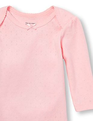 The Children's Place Baby Girls Pink Long Sleeve Pointelle Classic Bodysuit